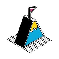 Mountain with racing flag isometric style icon vector design