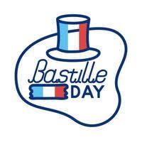 sombrero de copa con la bandera de Francia y estilo de línea de letras de la bastilla vector