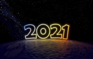 Concept number 2021 in space on a small planet photo