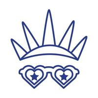 new york liberty statue crown and glasses line style vector