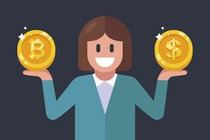 girl holding a dollar and bitcoin coin in her hands flat vector character illustration