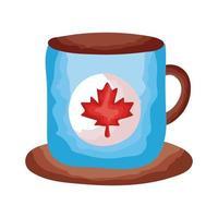 taza de café con estilo plano canadiense de hoja de arce vector