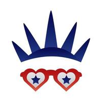 new york liberty statue crown and glasses degraded style vector