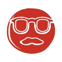 glasses and mustache hipster block style icon vector