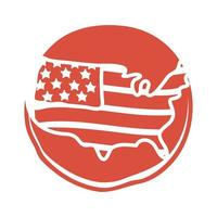 usa map with flag block style icon vector