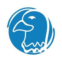 eagle bald usa block style icon vector