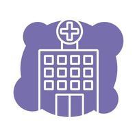 hospital building block style icon vector