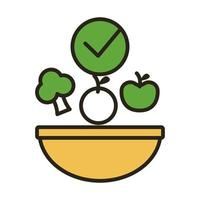 dish with vegetables healthy food line duo color style vector