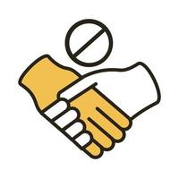 dont handshake contact line duo color style icon vector