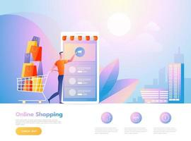 Online shopping concept with man interacting with shop. Landing page template. vector