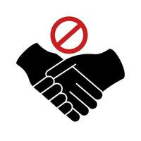 dont handshake contact silhouette style icon vector
