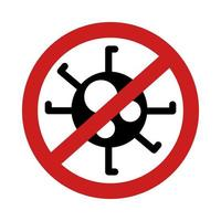 stop covid19 virus signal silhouette style vector