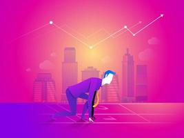 Business man is ready to run at start point on business chart background. vector