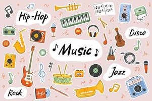 Music cute stickers template set vector