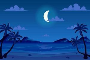 Moonlight night at seashore landscape background vector