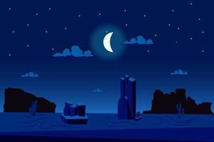 Moonlight night at desert landscape background vector
