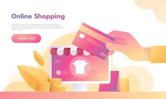 Isometric Smart phone online shopping concept with credit card payment. vector