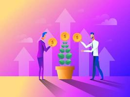 Business concept in flat design. People gathering, planting and caring for money tree. Vector illustration