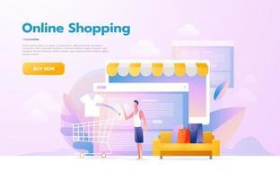 Men using mobile shopping app. Store that looks like a tablet computer. Online shopping concept. Vector flat design illustration.