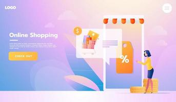 E-commerce buyer. Internet items. Young woman shopping online. vector