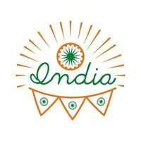 celebración del día de la independencia india con ashoka chakra e icono de estilo de línea de guirnaldas vector