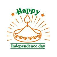 Independece day india celebration with candle line style icon vector
