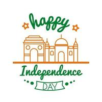 Independece day india celebration with mosque building line style icon vector