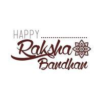 happy raksha bandhan celebration with lettering line style vector
