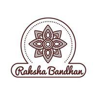 happy raksha bandhan celebration with flower decoration line style vector