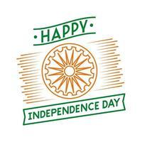 celebración del día de la independencia india con el icono de estilo de línea de chakra ashoka vector
