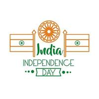 celebración del día de la independencia india con ashoka chakra e icono de estilo de línea de banderas vector