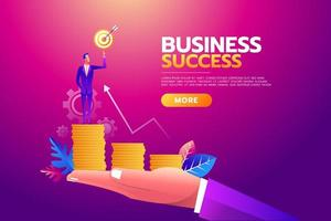 Success concept. Businessman in large hand holding goal target. All targets achieved. Business vector illustration, concept, flat.