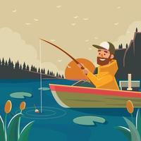 A Man Fishing At The Lake vector