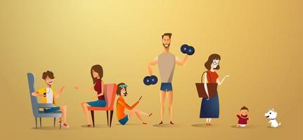 Big traditional family concept illustration of family portrait. Flat design of family and dog isolated on gold background vector
