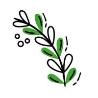 branch with leafs line and fill style vector