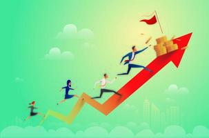 Business people running to coins on arrow to success, business concept illustration vector
