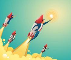 equipo de negocios volando en cohetes a través del cielo. poner en marcha el concepto de negocio. vector plano