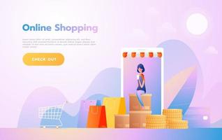 Landing page template of Online Shopping. Modern flat design woman sitting on coins for website and mobile website. Vector illustration