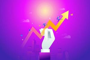 Large hand holding graph arrow with business team running on it. Business concept, Graph and chart, Cartoon character vector