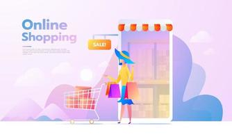 E-commerce buyer. Internet items. Banner with young woman shopping online. vector illustrations. Interacting people