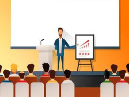 Business seminar speaker doing presentation and professional training about marketing, sales and e-commerce. Flat vector illustration of presentation conference and motivation for business audience.