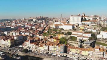 Panning shot of Porto Riberia and Douro river. Historical cityscape video