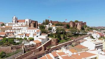 Scenic aerial view of fortified and walled city and Castle of Silves, Algarve, Portugal video