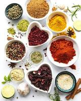 Various spices in a bowls  on white  background photo