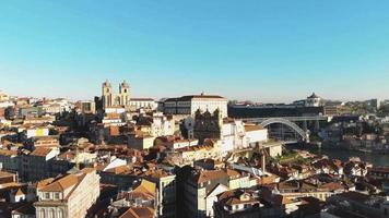 Fly over downtown Porto historical buildings on sunny day. Oporto, Portugal video