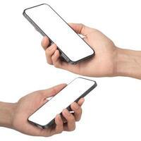 mano sosteniendo y jugando maqueta de pantalla en blanco de teléfono inteligente foto