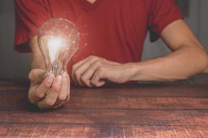 Idea innovation and inspiration concept creativity with bulbs photo