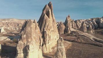 Fairy Chimneys rock formation in Cappadocia. Turkey amazing nature landscape video