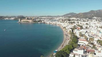 Aerial 4k drone footage flying over the coastline of the city of Bodrum, Turkey. video