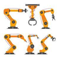 6 Robotic arms flat style design set vector
